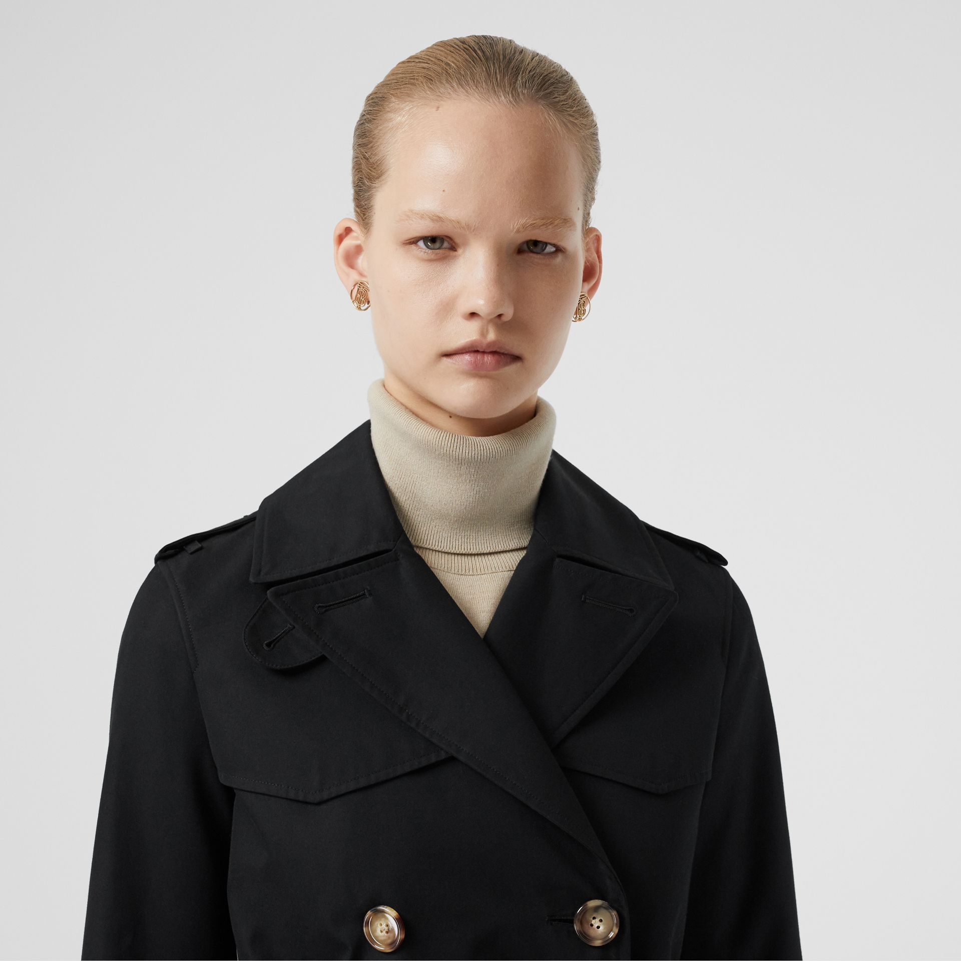 Cotton Gabardine Trench Coat in Black - Women | Burberry - gallery image 1