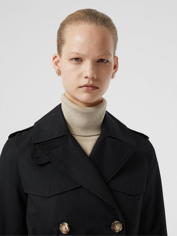Cotton Gabardine Trench Coat in Black - Women | Burberry Canada - cell image 1