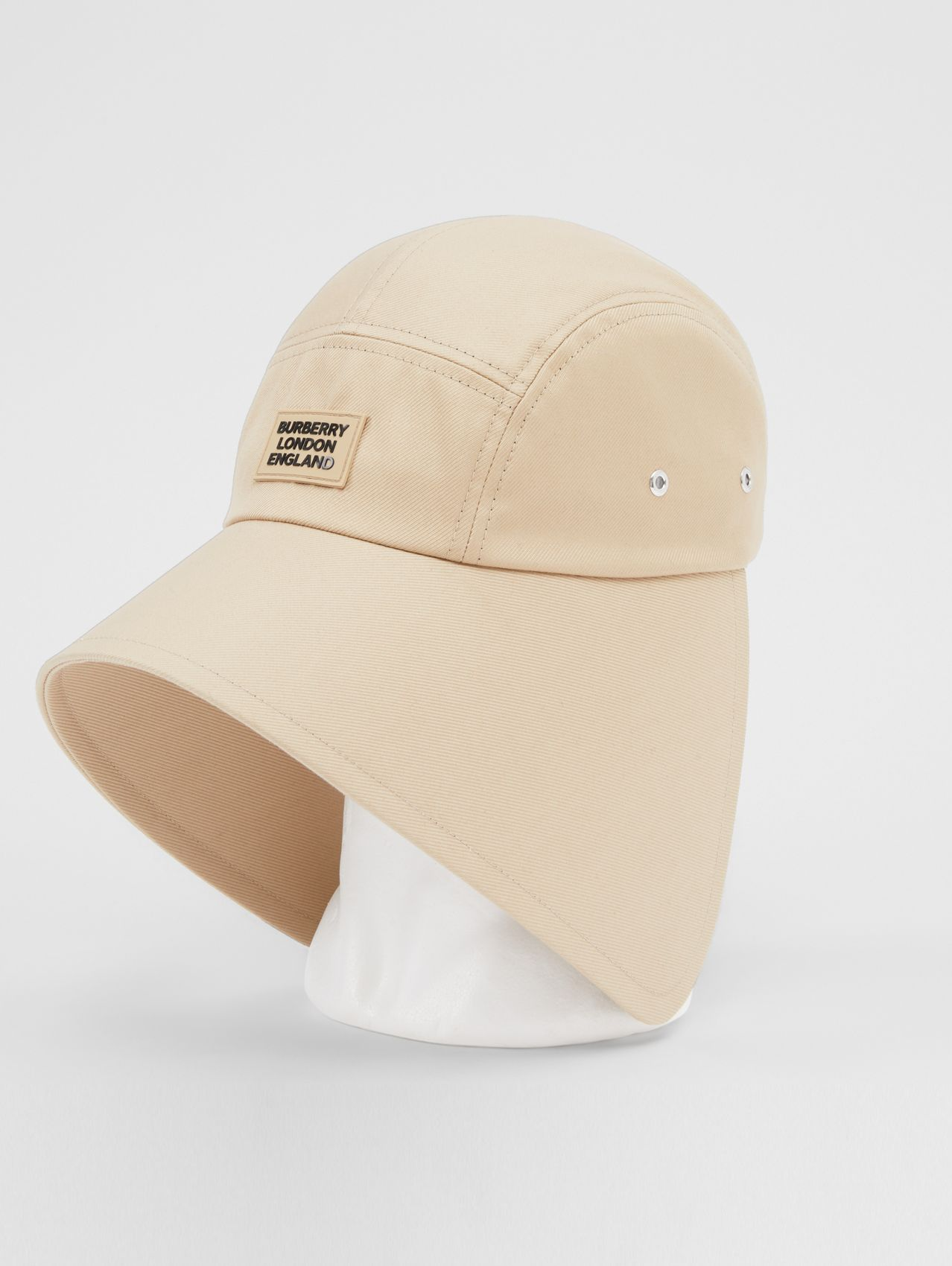 Logo Appliqué Cotton Twill Bonnet Cap in Soft Fawn