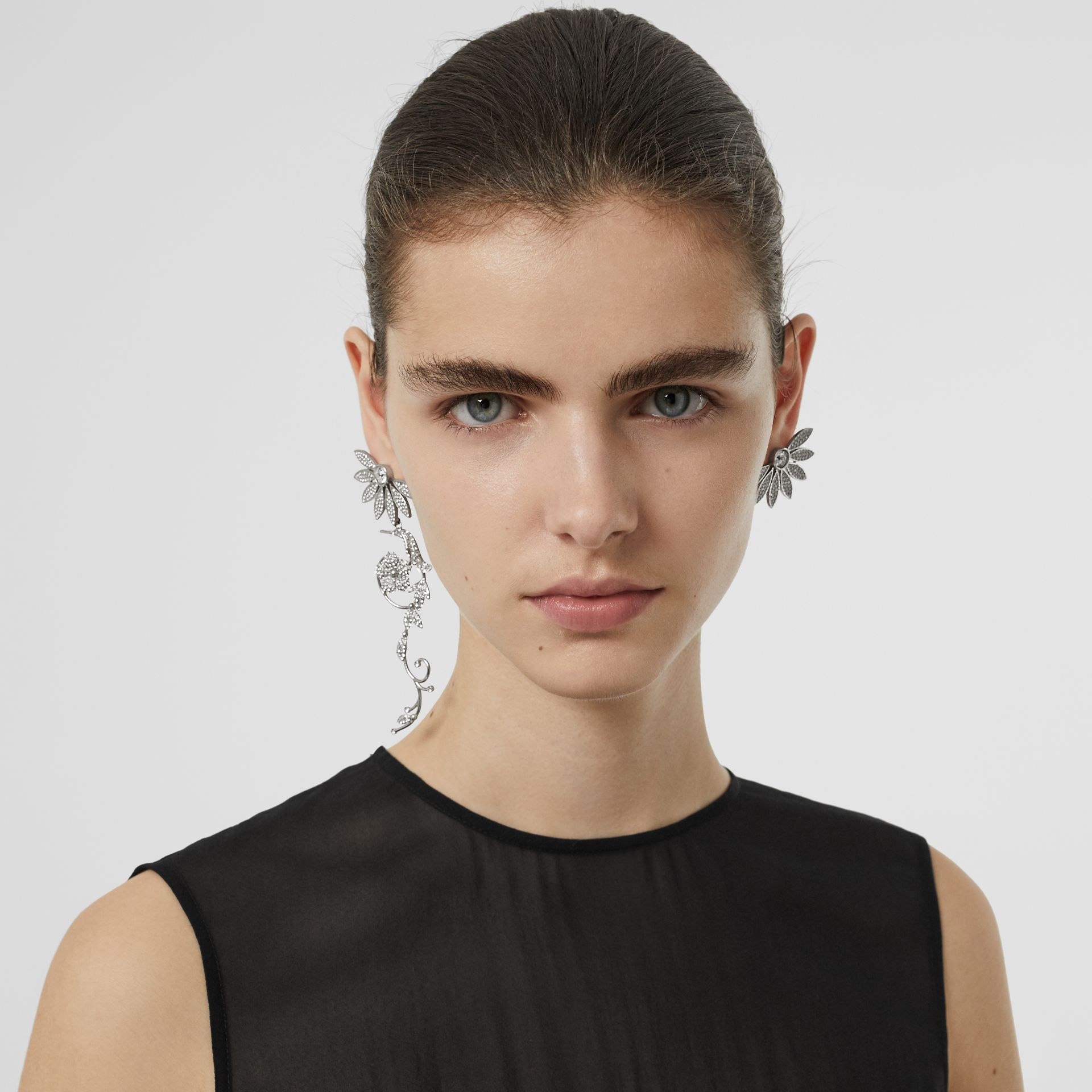 Crystal Half-daisy Drop Earring and Stud Set - Women | Burberry Canada - gallery image 2