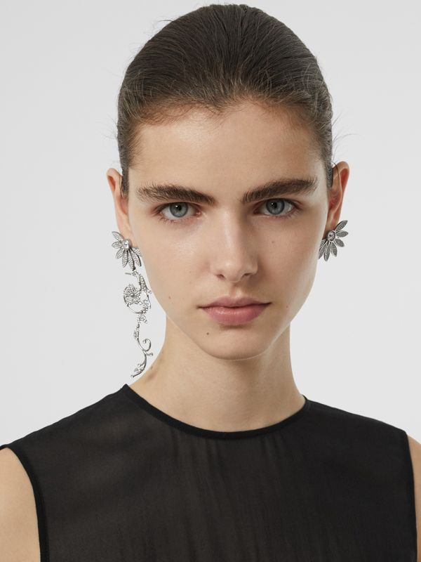 Crystal Half-daisy Drop Earring and Stud Set - Women | Burberry Canada - cell image 2