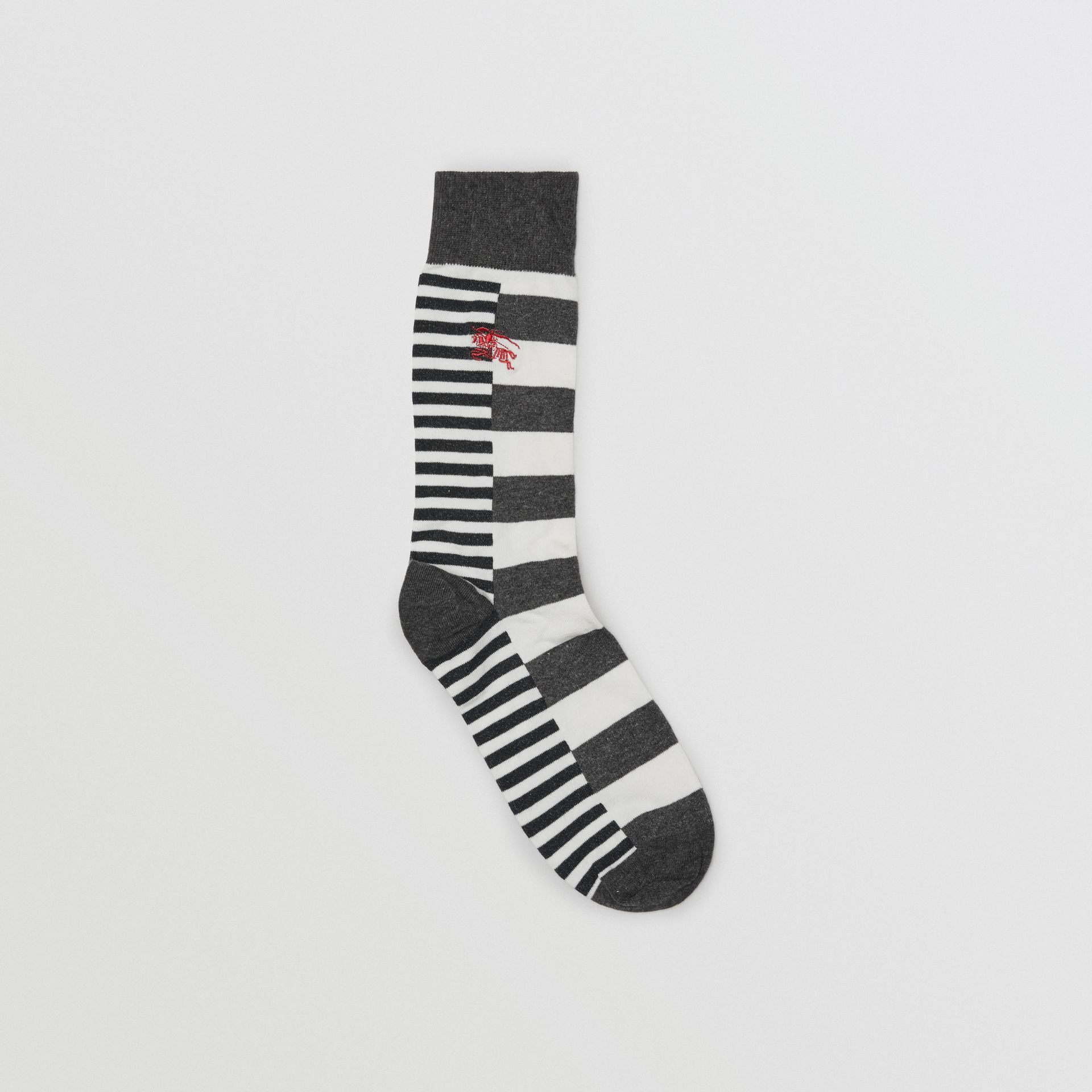 Contrast Stripe Cotton Blend Socks in White/charcoal | Burberry United Kingdom - gallery image 0