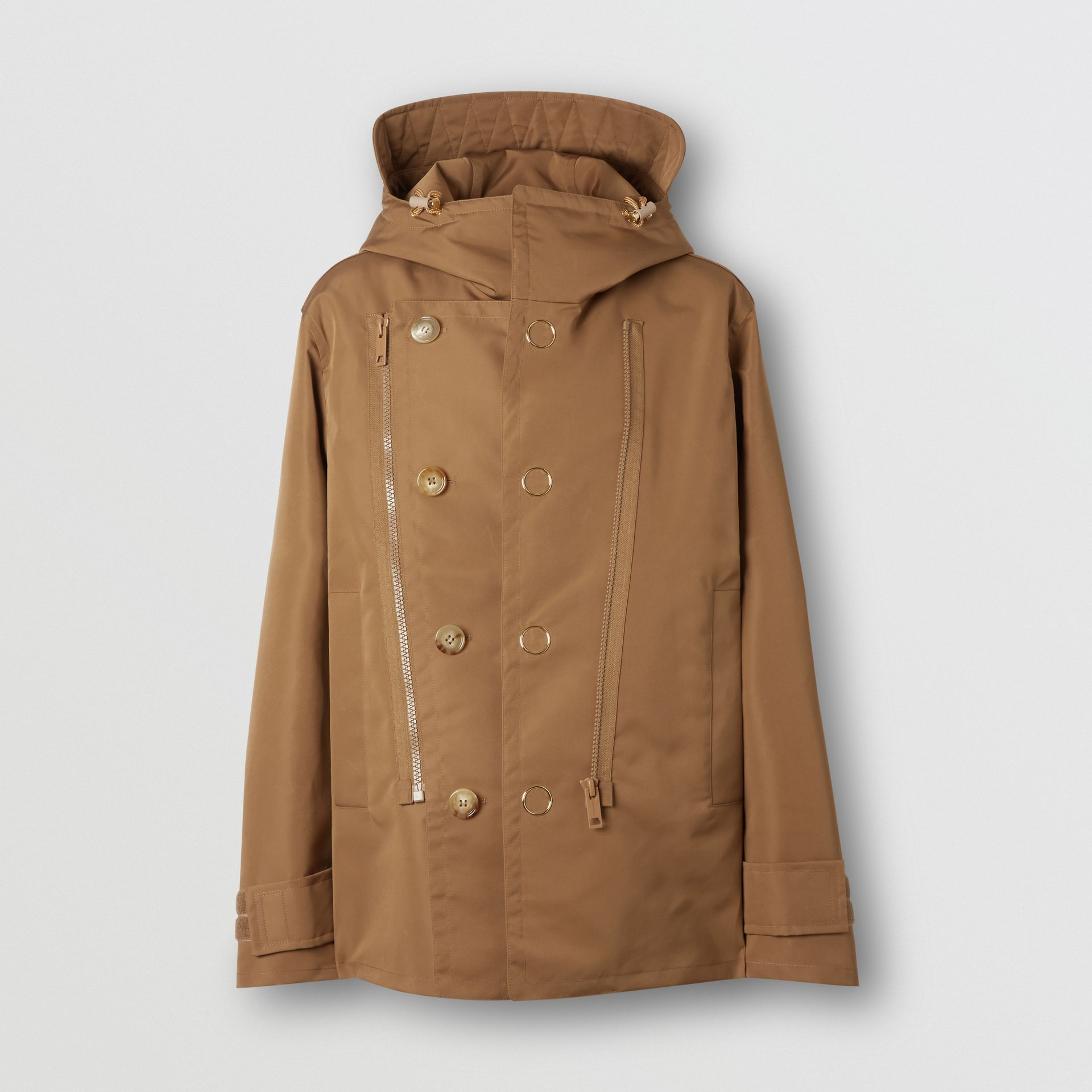 Detachable Panel Detail Hooded Jacket in Warm Walnut - Men | Burberry United Kingdom - gallery image 3