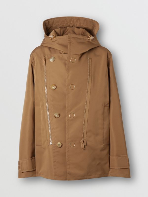 Detachable Panel Detail Hooded Jacket in Warm Walnut - Men | Burberry United Kingdom - cell image 3
