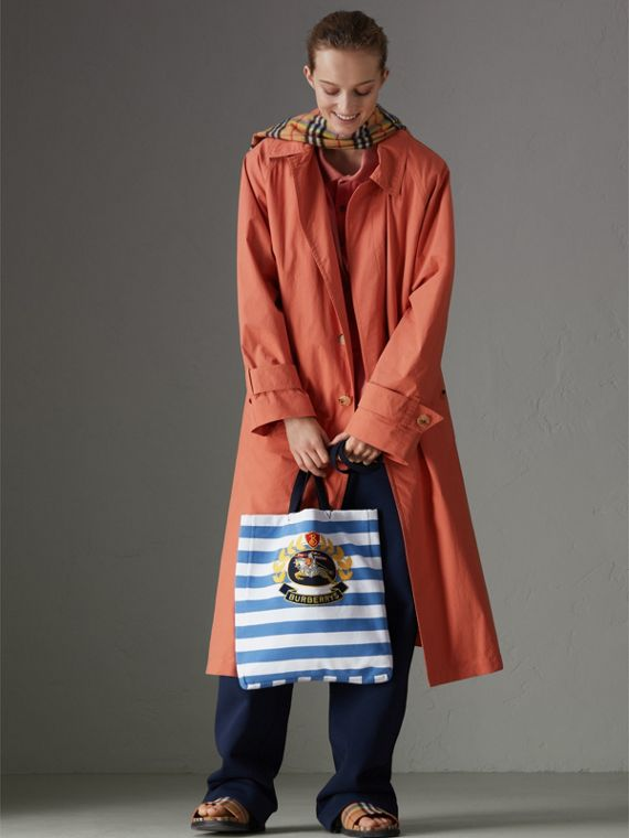 Archive Logo Striped Jersey Tote in Sky Blue/white | Burberry United Kingdom - cell image 2