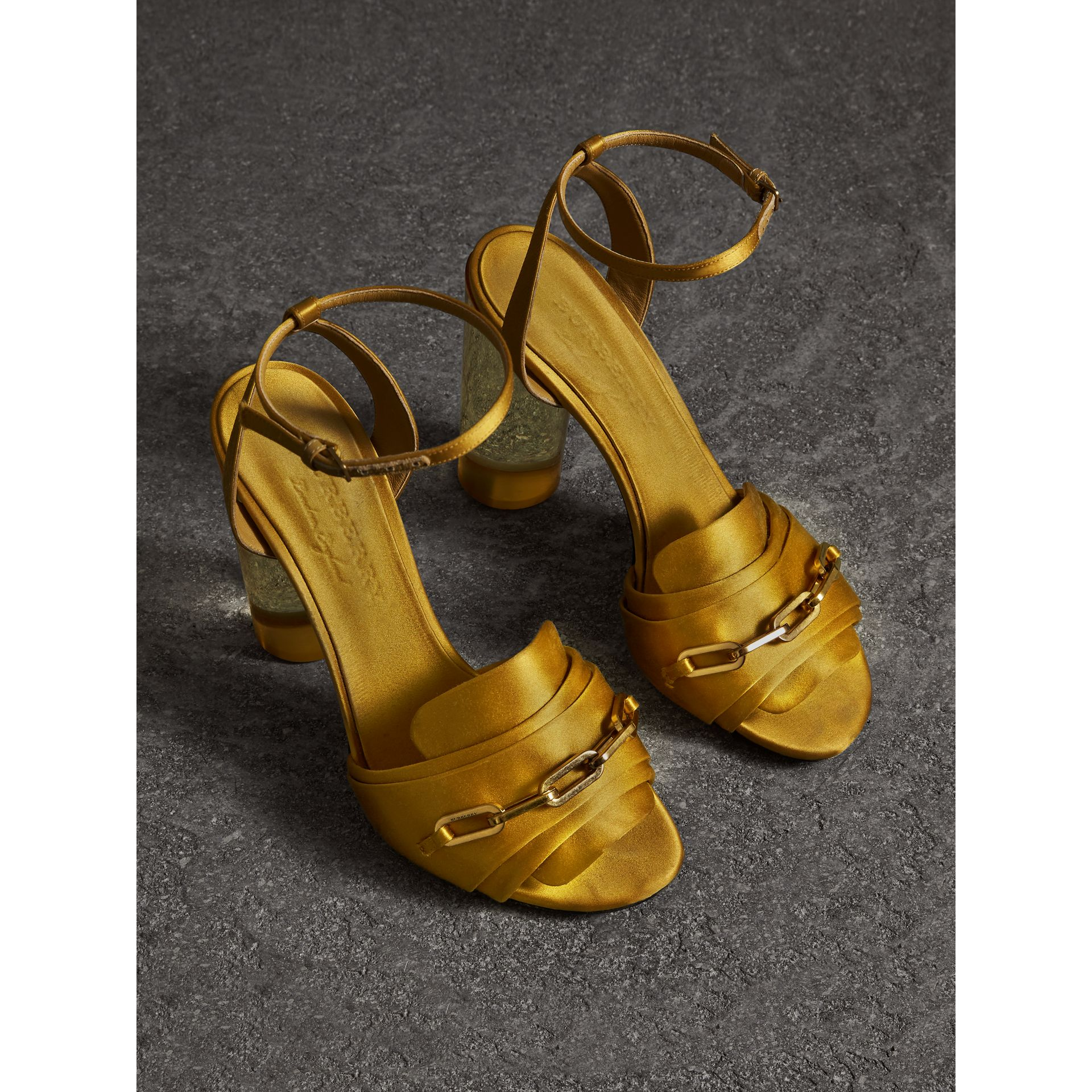 Link Detail Perspex Heel Satin Sandals in Antique Yellow - Women | Burberry Canada - gallery image 4