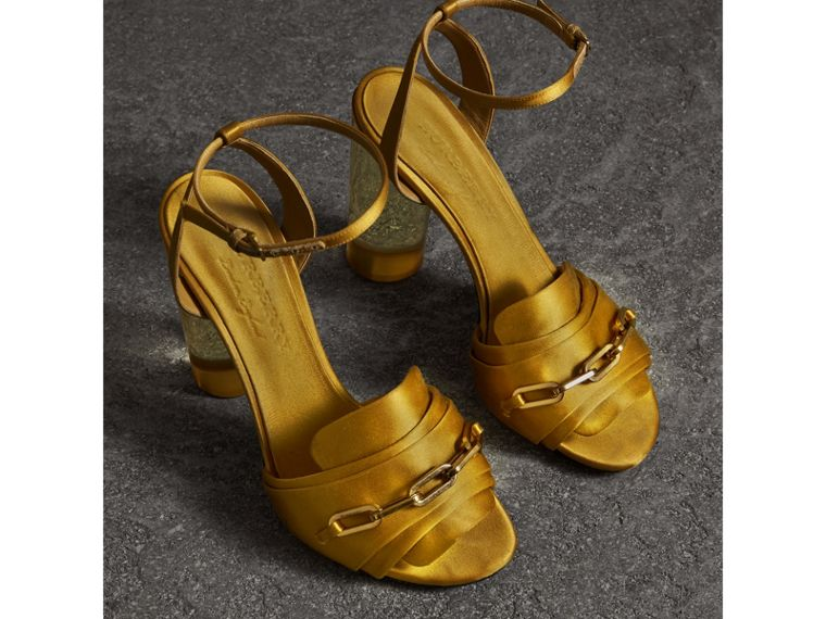 Link Detail Perspex Heel Satin Sandals in Antique Yellow - Women | Burberry - cell image 4