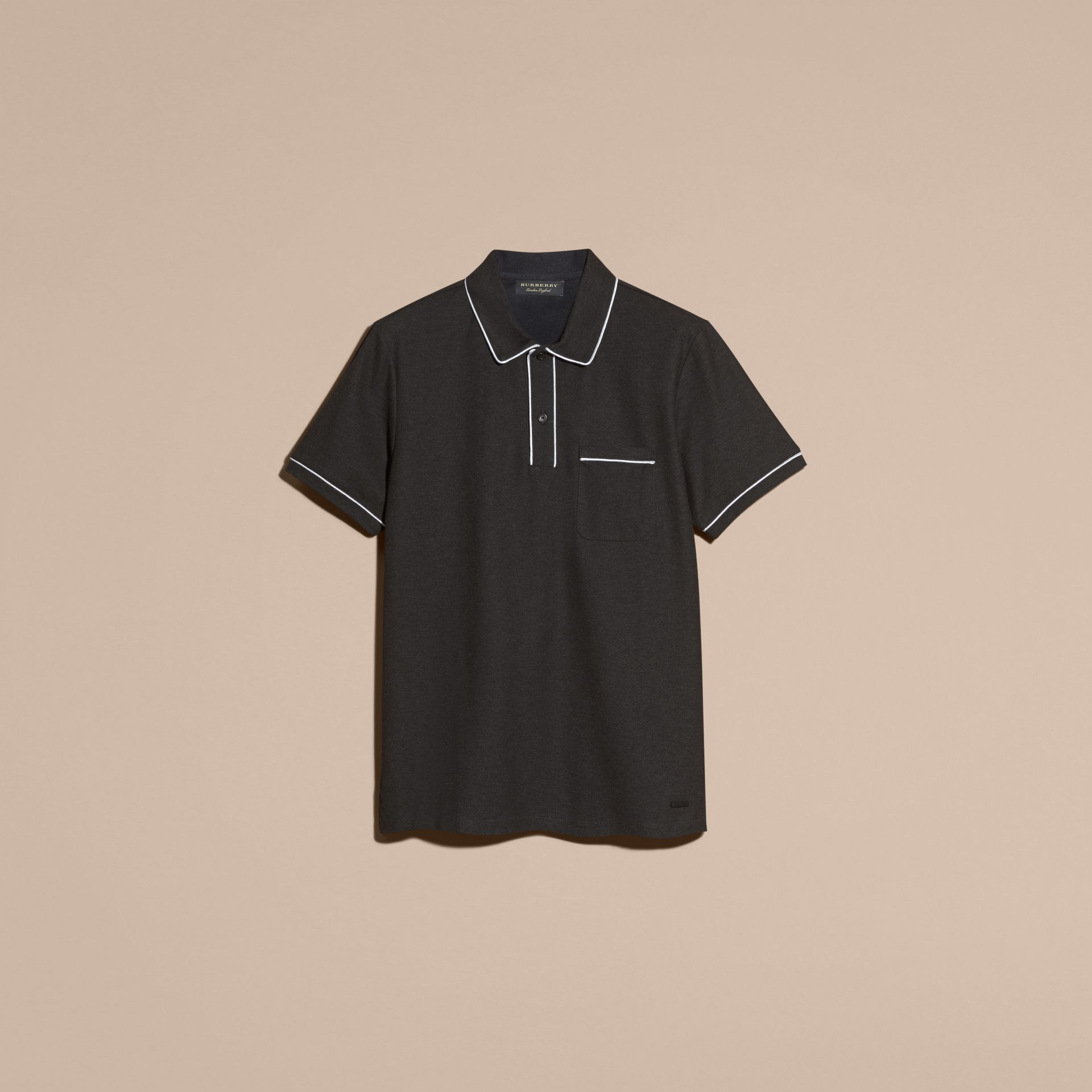 Charcoal Piped Cotton Piqué Polo Shirt Charcoal - gallery image 3