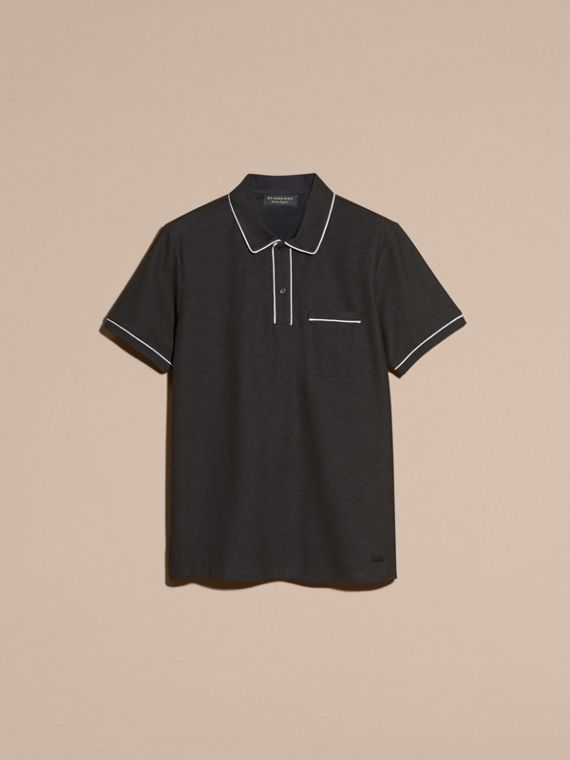 Charcoal Piped Cotton Piqué Polo Shirt Charcoal - cell image 2
