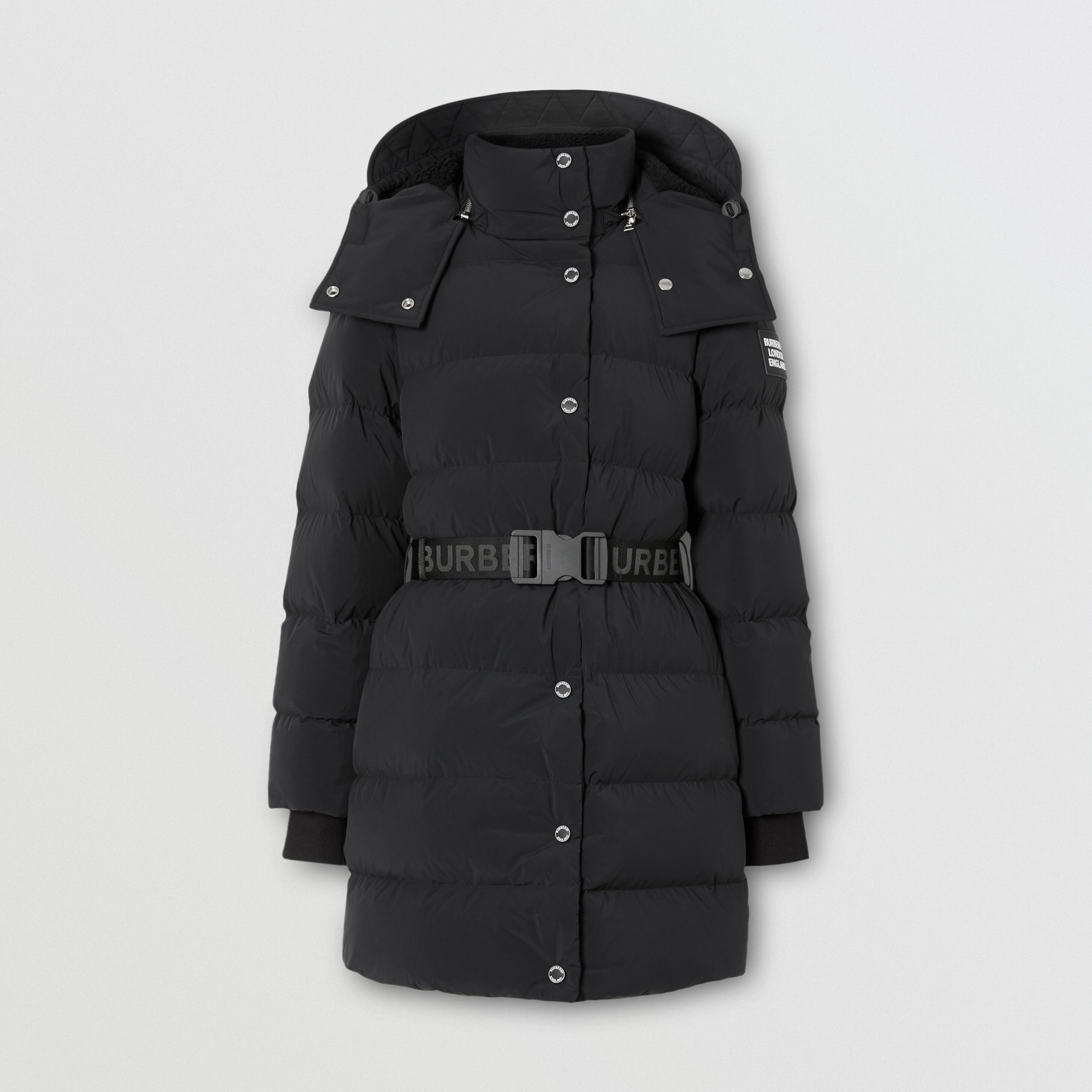 Detachable Hood Belted Puffer Coat in Black - Women | Burberry - 4