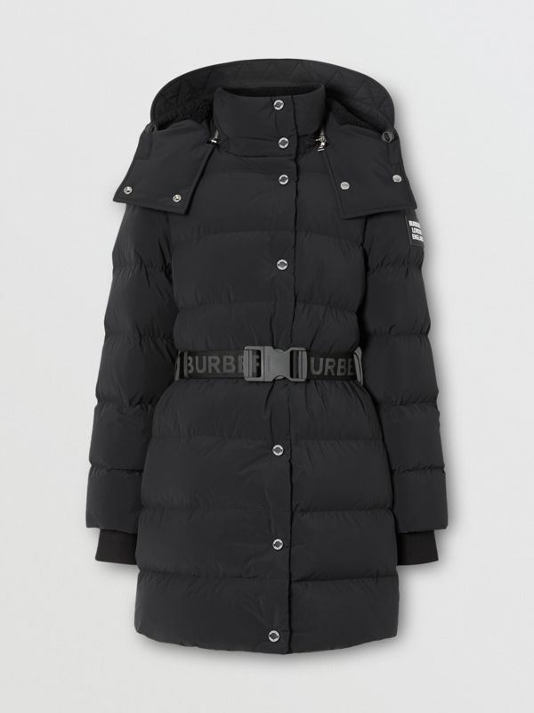 Detachable Hood Belted Puffer Coat in Black - Women | Burberry - cell image 3