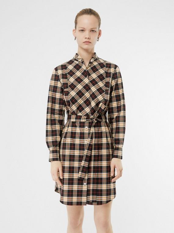 Robe chemise en coton ceinturée à motif check (Minuit)