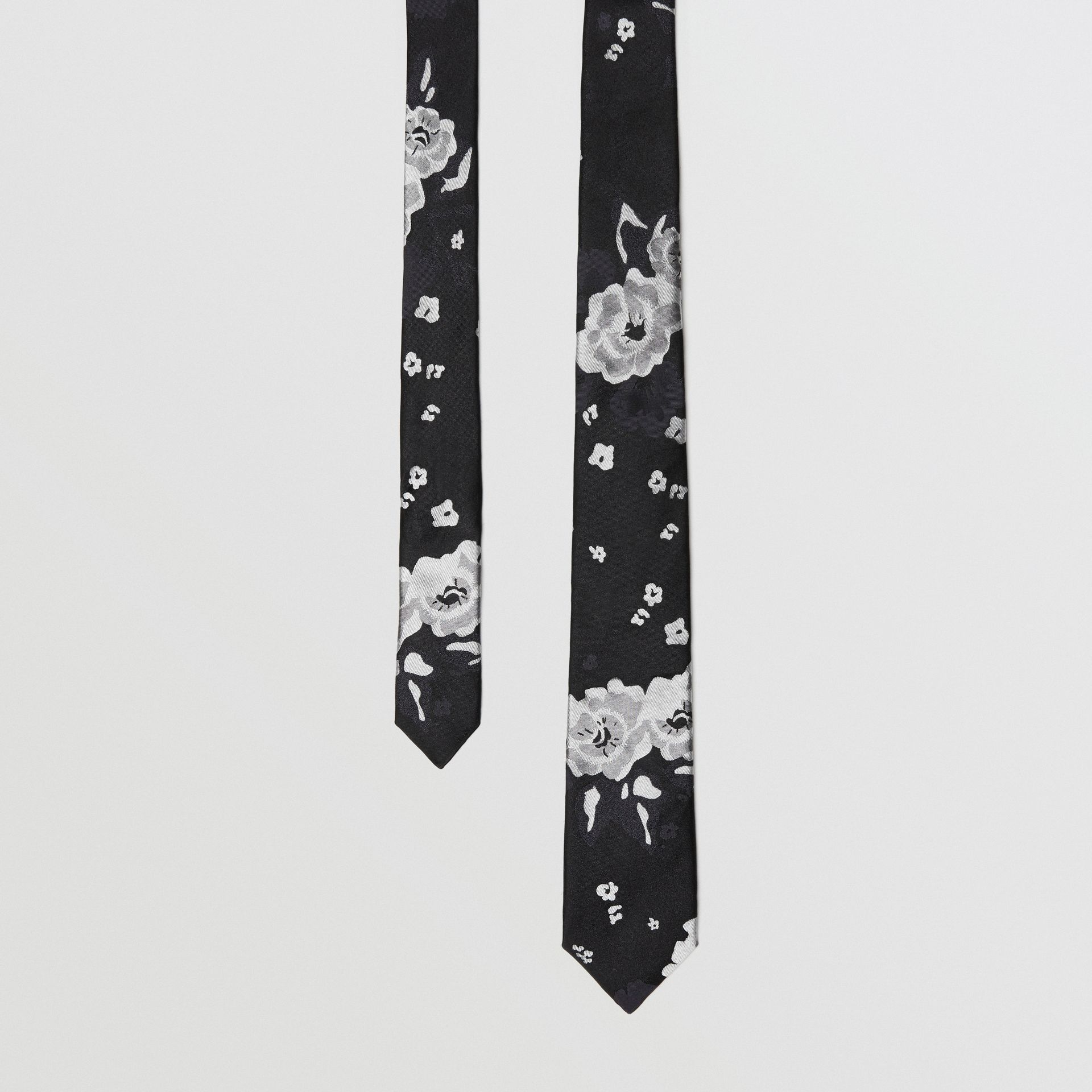 Slim Cut Floral Silk Tie in Black - Men | Burberry United Kingdom - gallery image 0