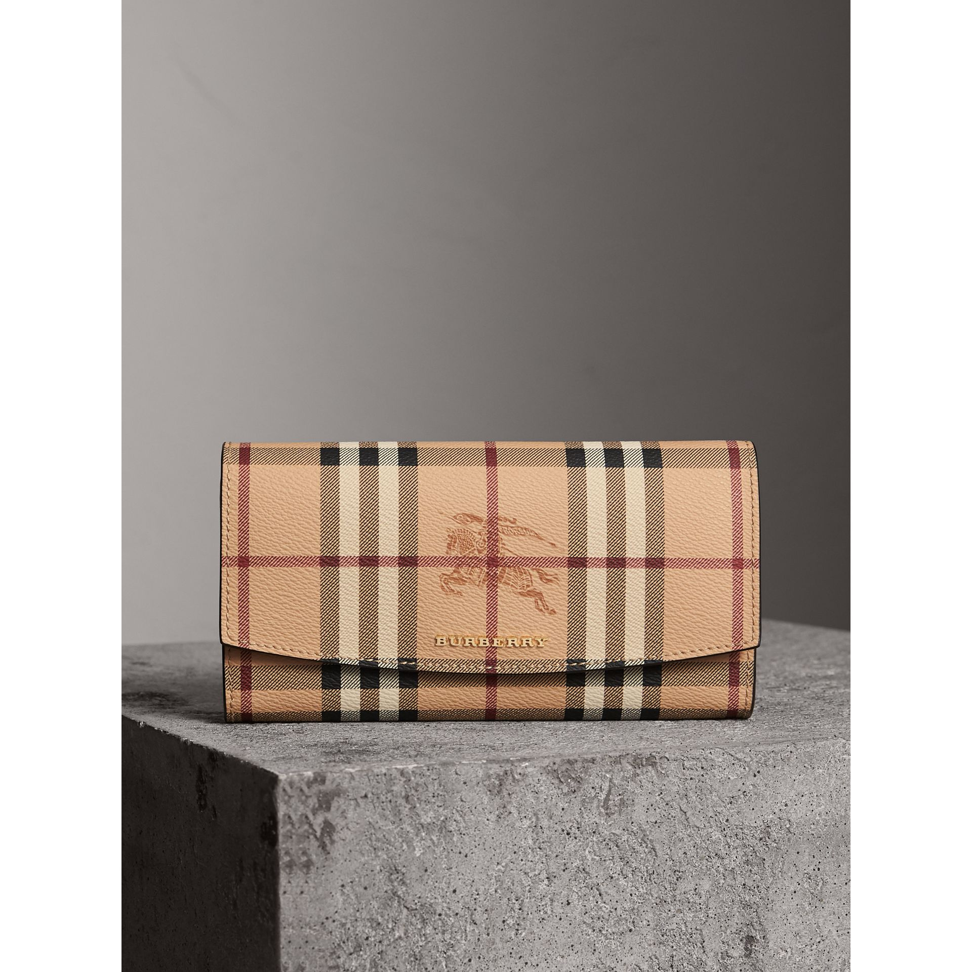 Haymarket Check and Leather Continental Wallet in Tan - Women | Burberry - gallery image 4
