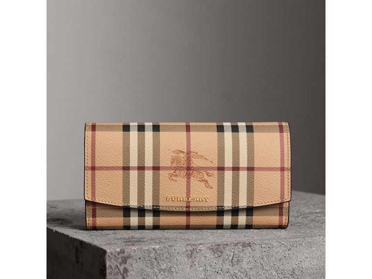 Haymarket Check and Leather Continental Wallet in Tan - Women | Burberry - cell image 4