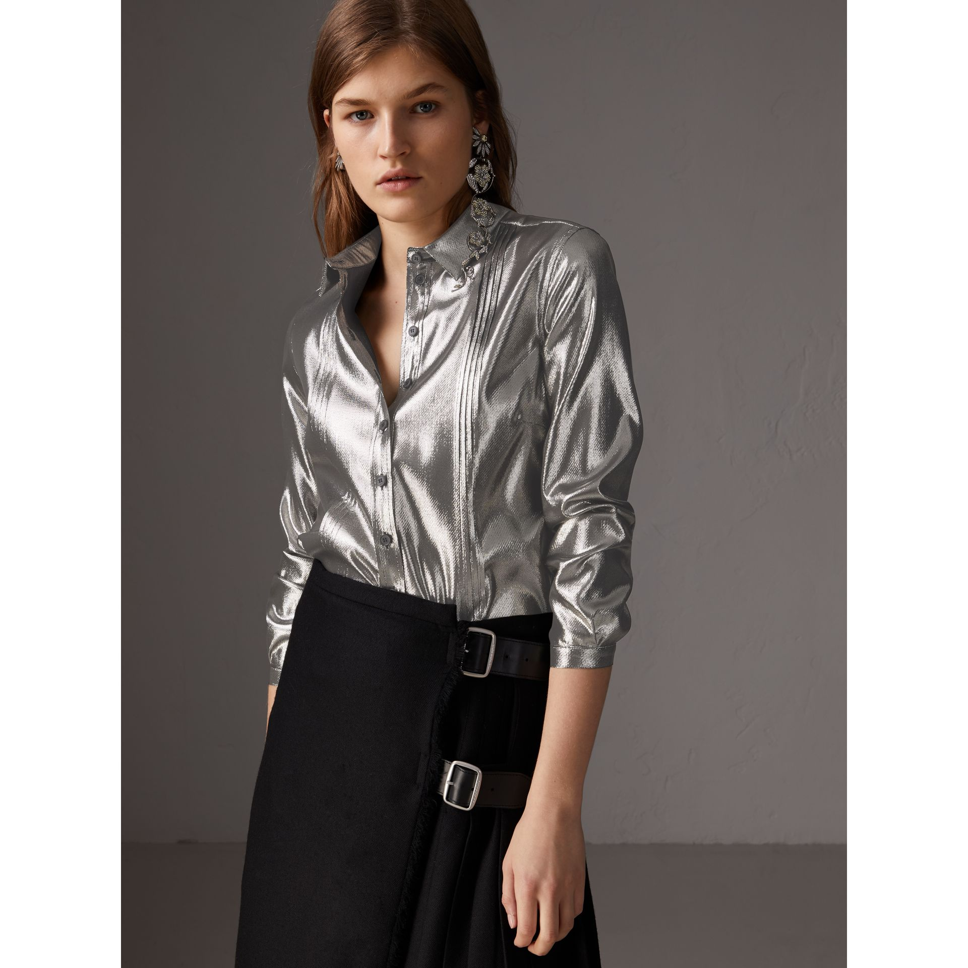Pintuck Detail Silk Lamé Shirt in Silver - Women | Burberry - gallery image 5