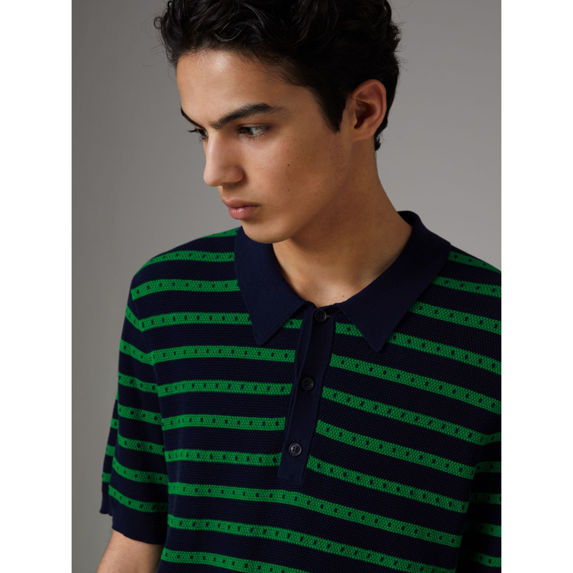 Striped Knitted Cotton Polo Shirt in Deep Navy - Men | Burberry Canada - gallery image 1