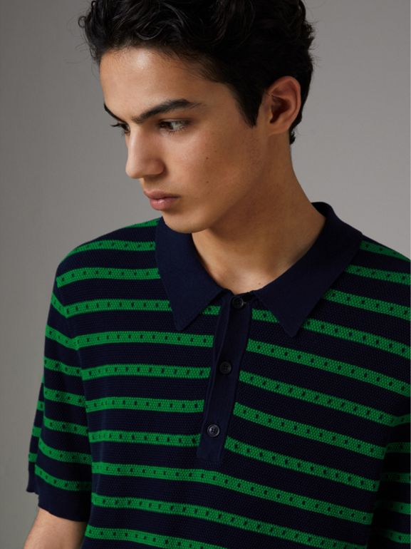 Striped Knitted Cotton Polo Shirt in Deep Navy - Men | Burberry Canada - cell image 1