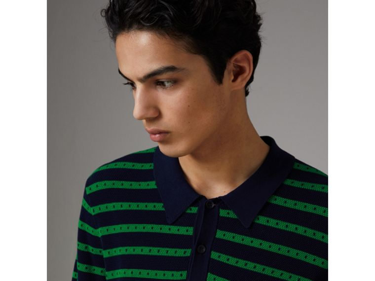 Striped Knitted Cotton Polo Shirt in Deep Navy - Men | Burberry United Kingdom - cell image 1