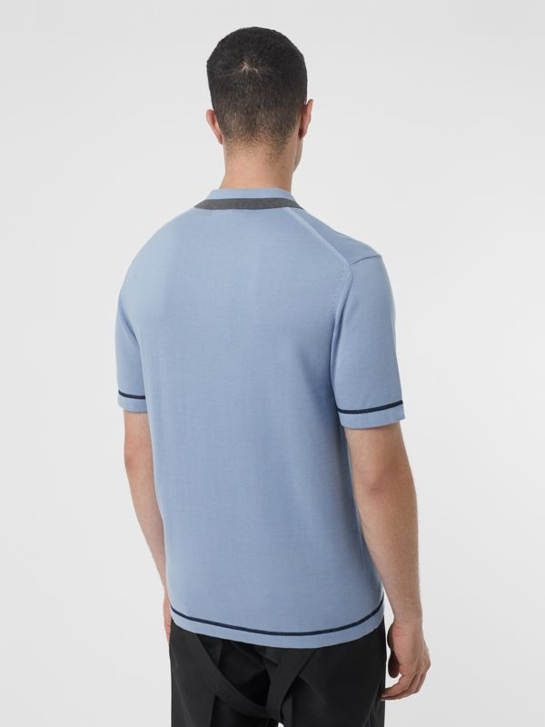Monogram Motif Tipped Cotton Polo Shirt in Baby Blue - Men | Burberry Singapore - cell image 2