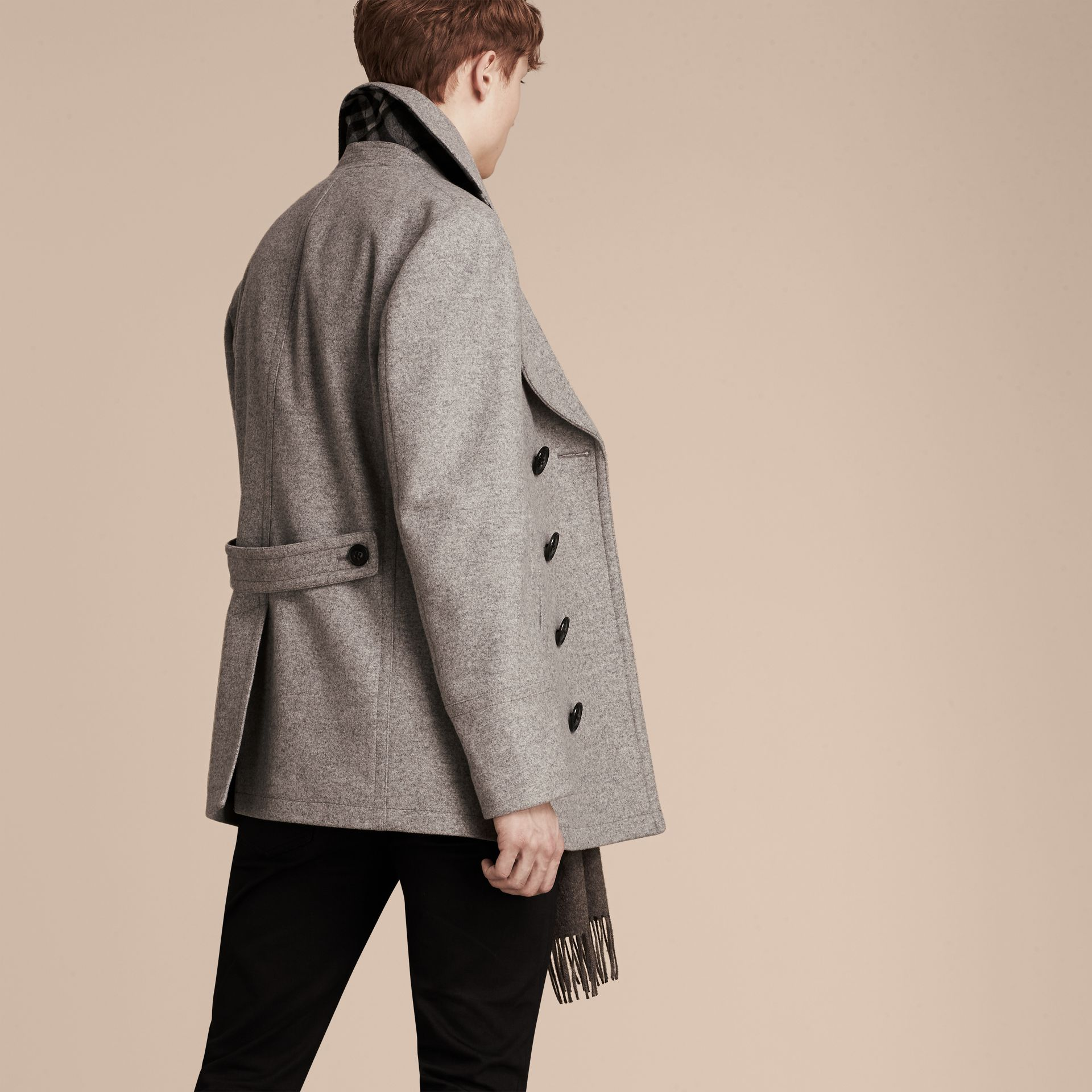 Wool Cashmere Pea Coat in Pale Grey Melange - gallery image 3