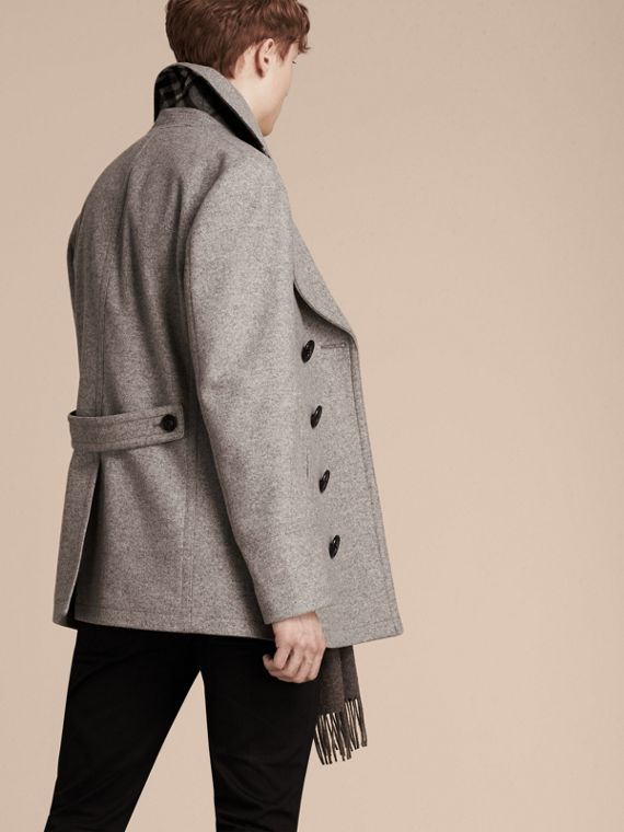 Wool Cashmere Pea Coat in Pale Grey Melange - cell image 2