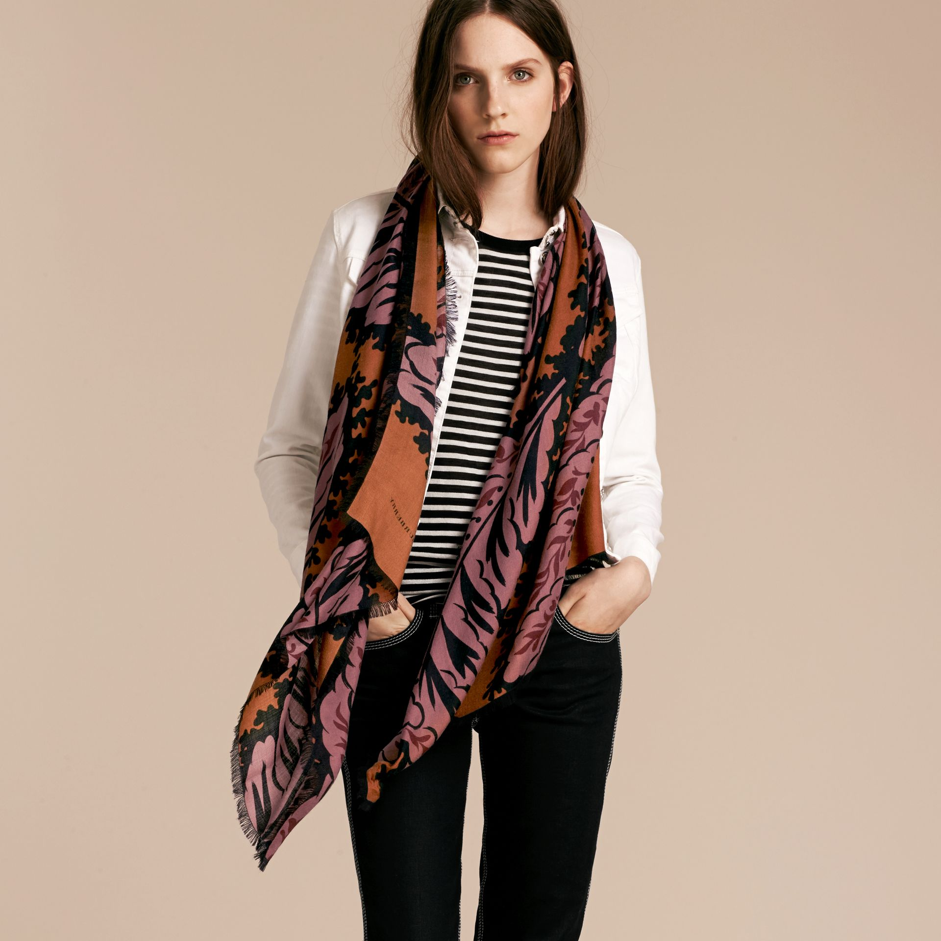 Bright toffee Leaf Print Cashmere Scarf Bright Toffee - gallery image 3