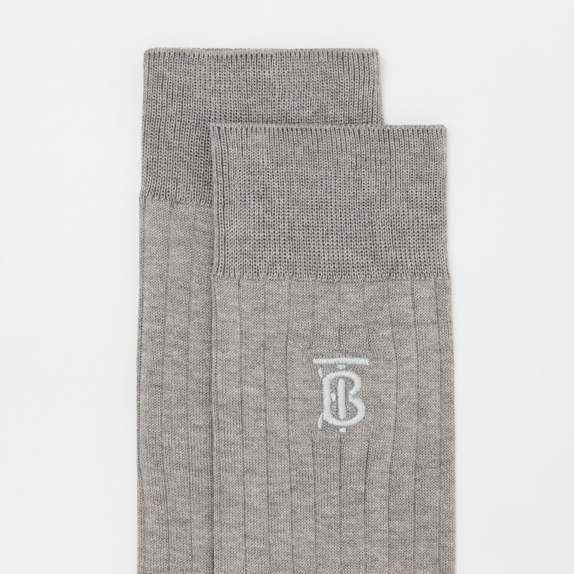 Monogram Motif Cotton Blend Socks in Grey | Burberry - gallery image 1