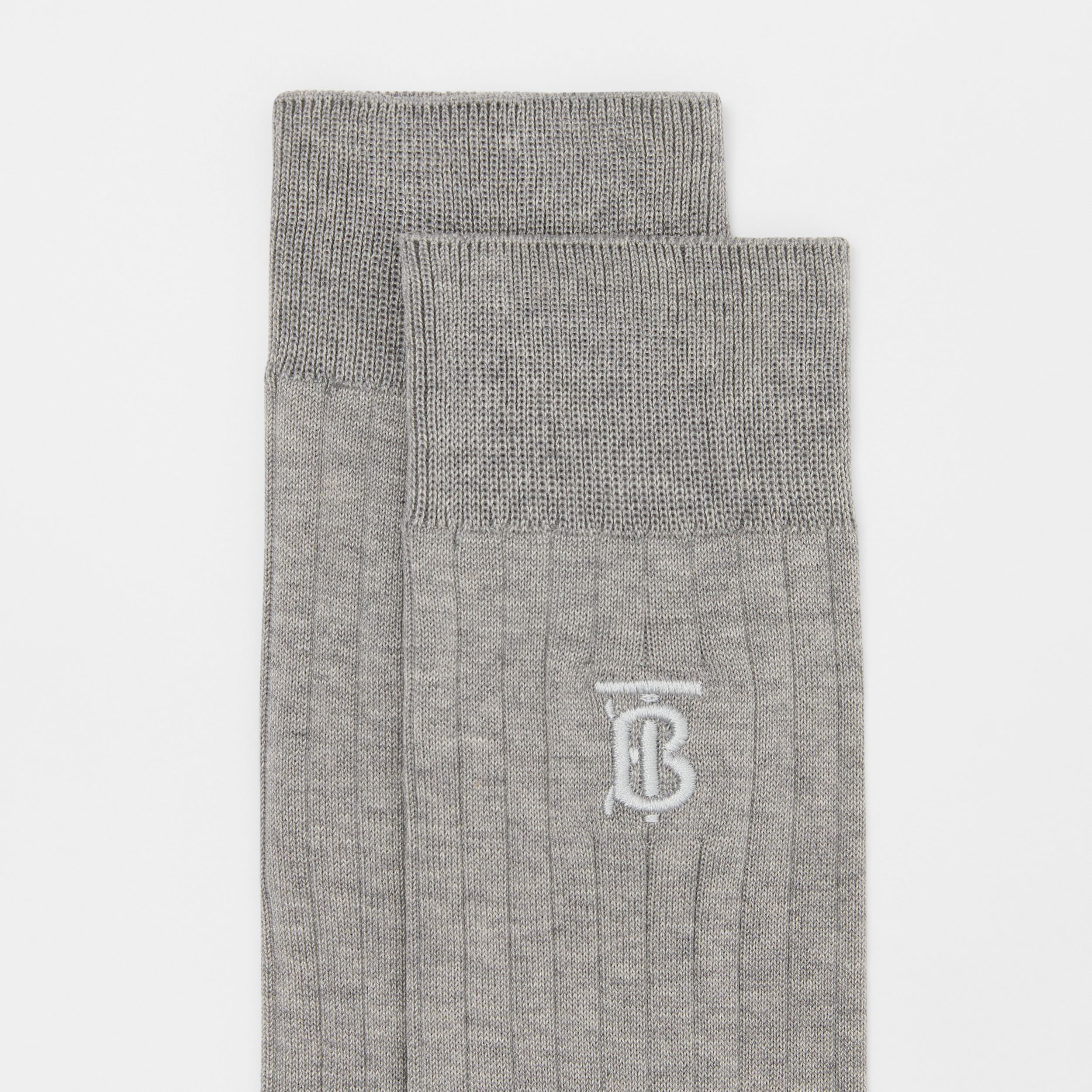 Monogram Motif Cotton Blend Socks in Grey | Burberry - 2