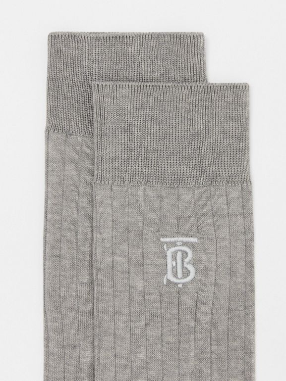 Monogram Motif Cotton Blend Socks in Grey | Burberry Australia - cell image 1