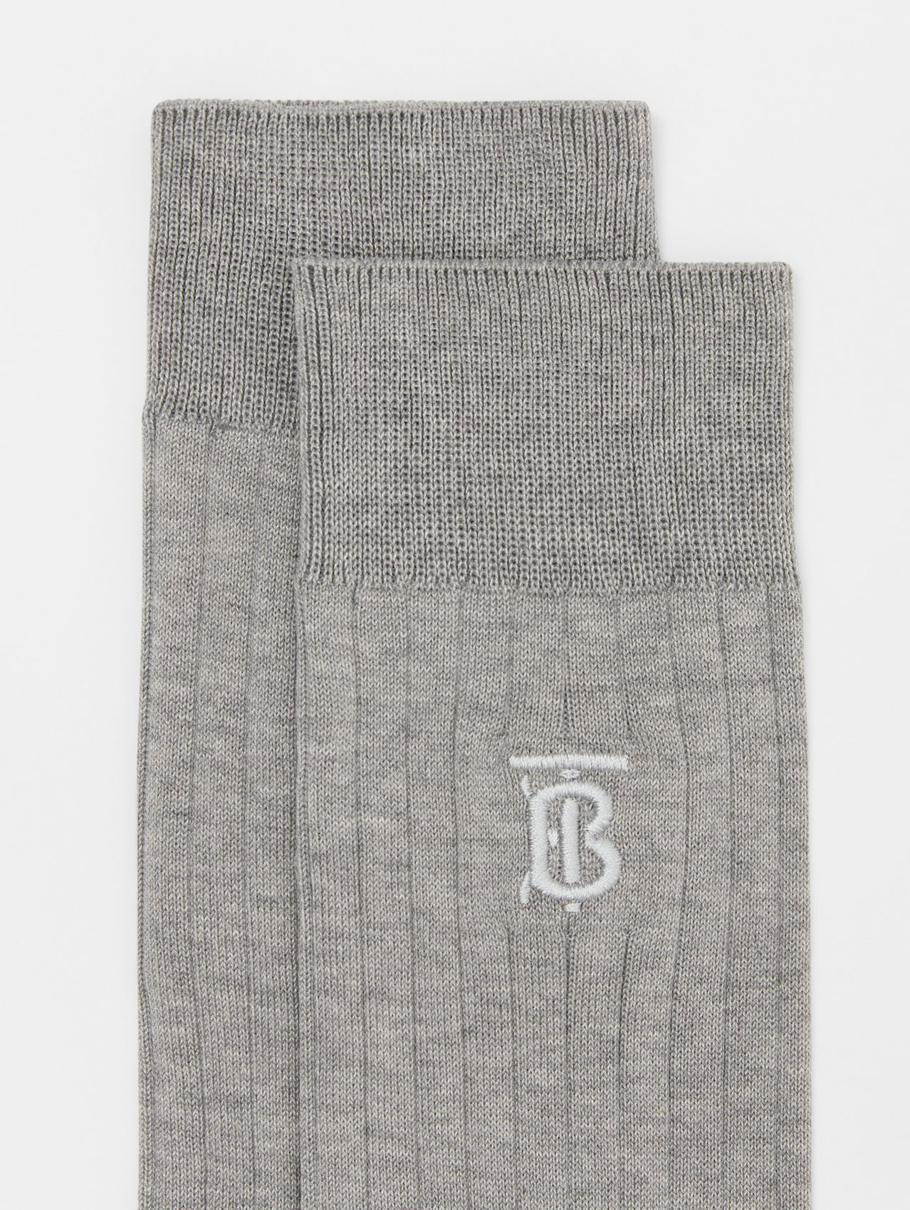Monogram Motif Cotton Blend Socks in Grey