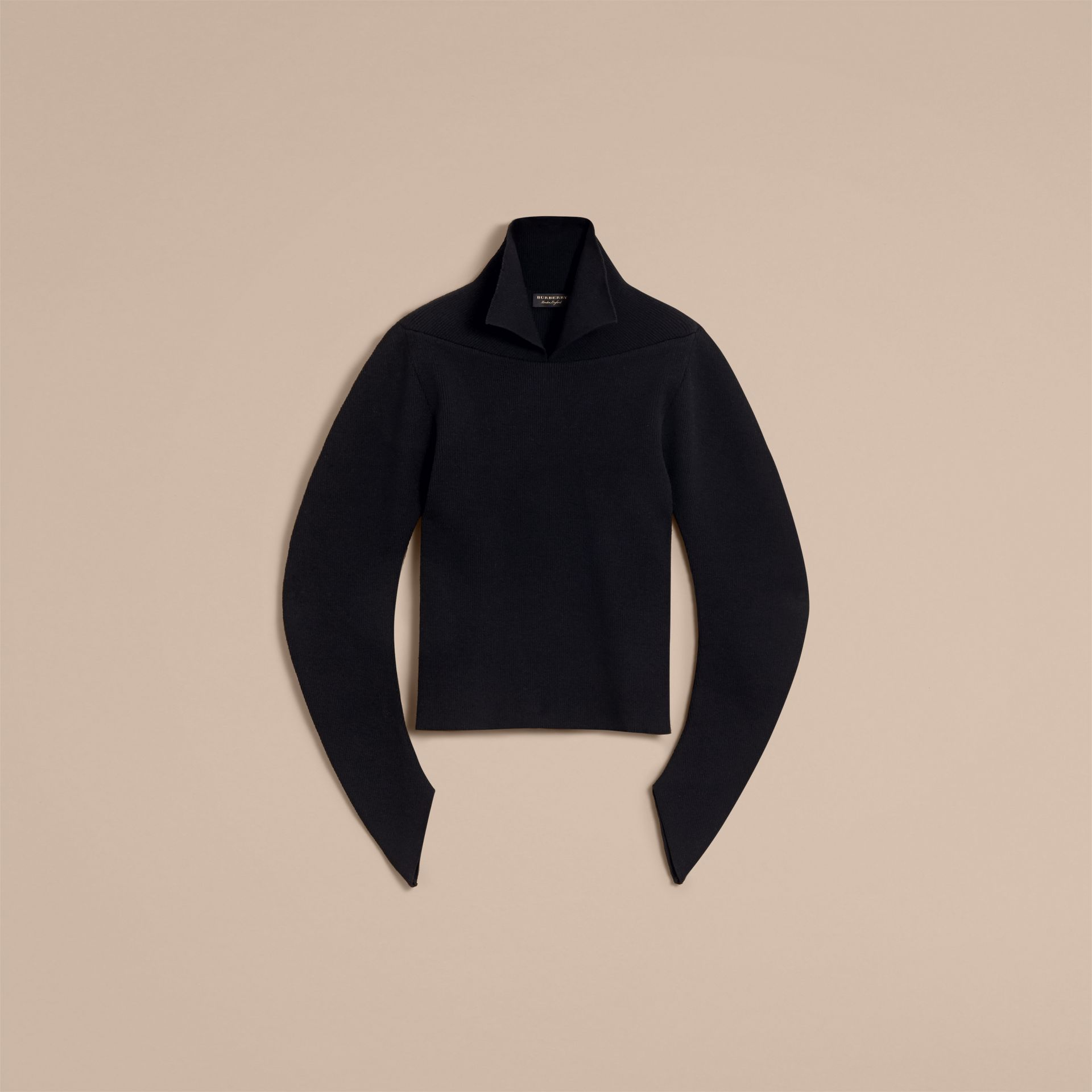 Rib Knit Compact Wool Blend Sculptural Sweater - Men | Burberry Australia - gallery image 4
