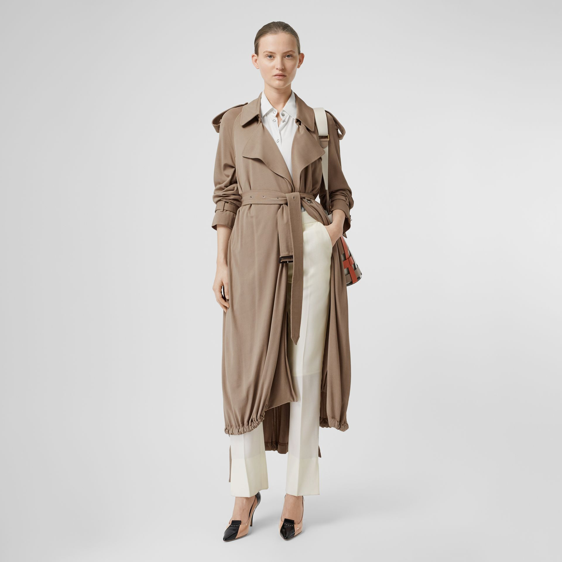 Jersey Wrap Coat in Warm Taupe - Women | Burberry - gallery image 0