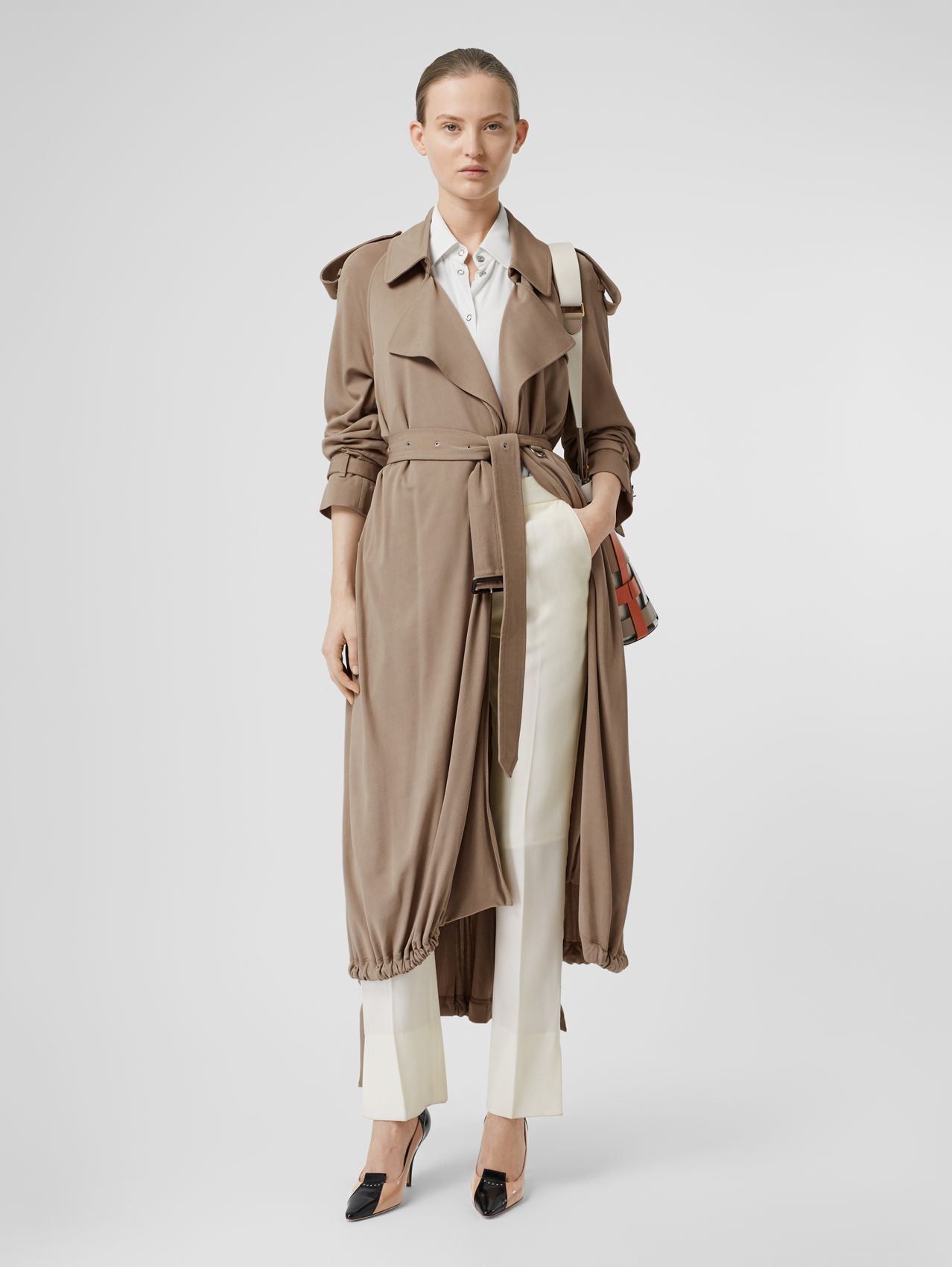 Jersey Wrap Coat in Warm Taupe