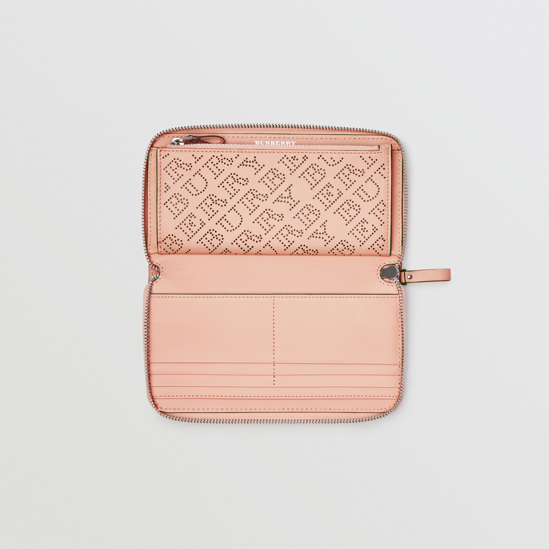 Perforated Leather Ziparound Wallet in Pale Fawn Pink - Women | Burberry - gallery image 3