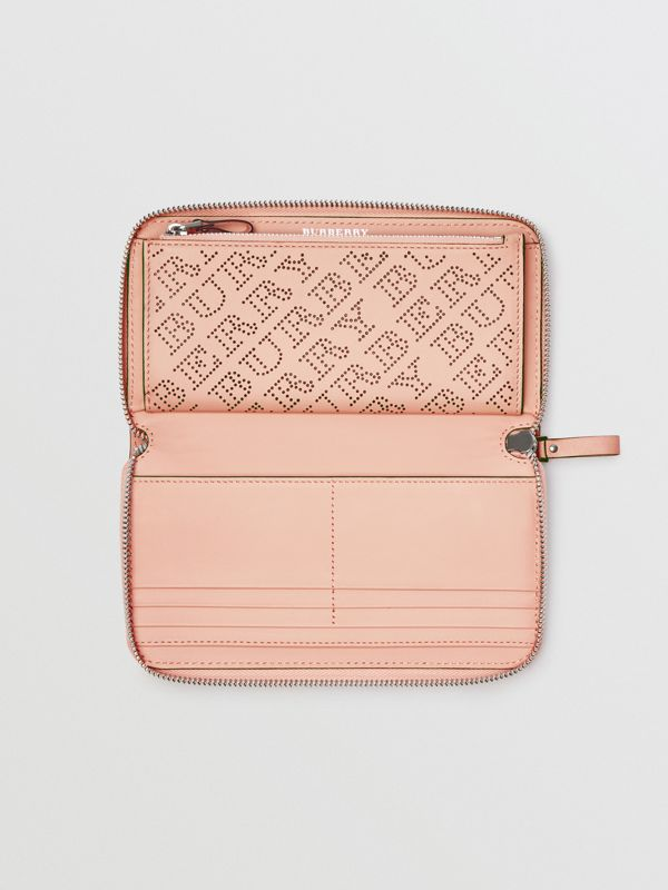 Perforated Leather Ziparound Wallet in Pale Fawn Pink - Women | Burberry - cell image 3