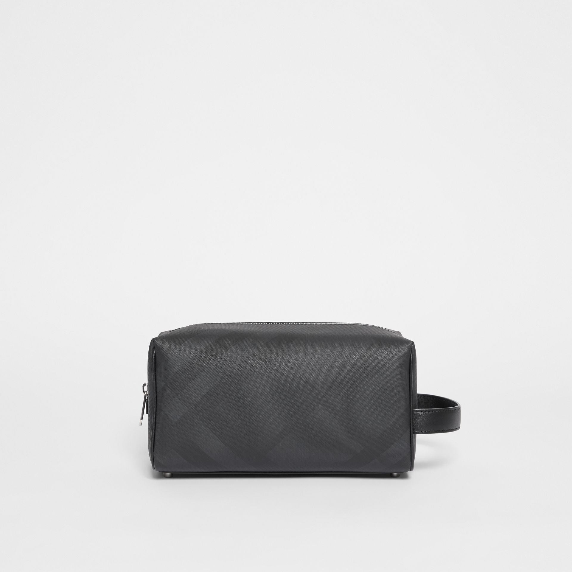 London Check and Leather Travel Pouch in Dark Charcoal - Men | Burberry United States - gallery image 0