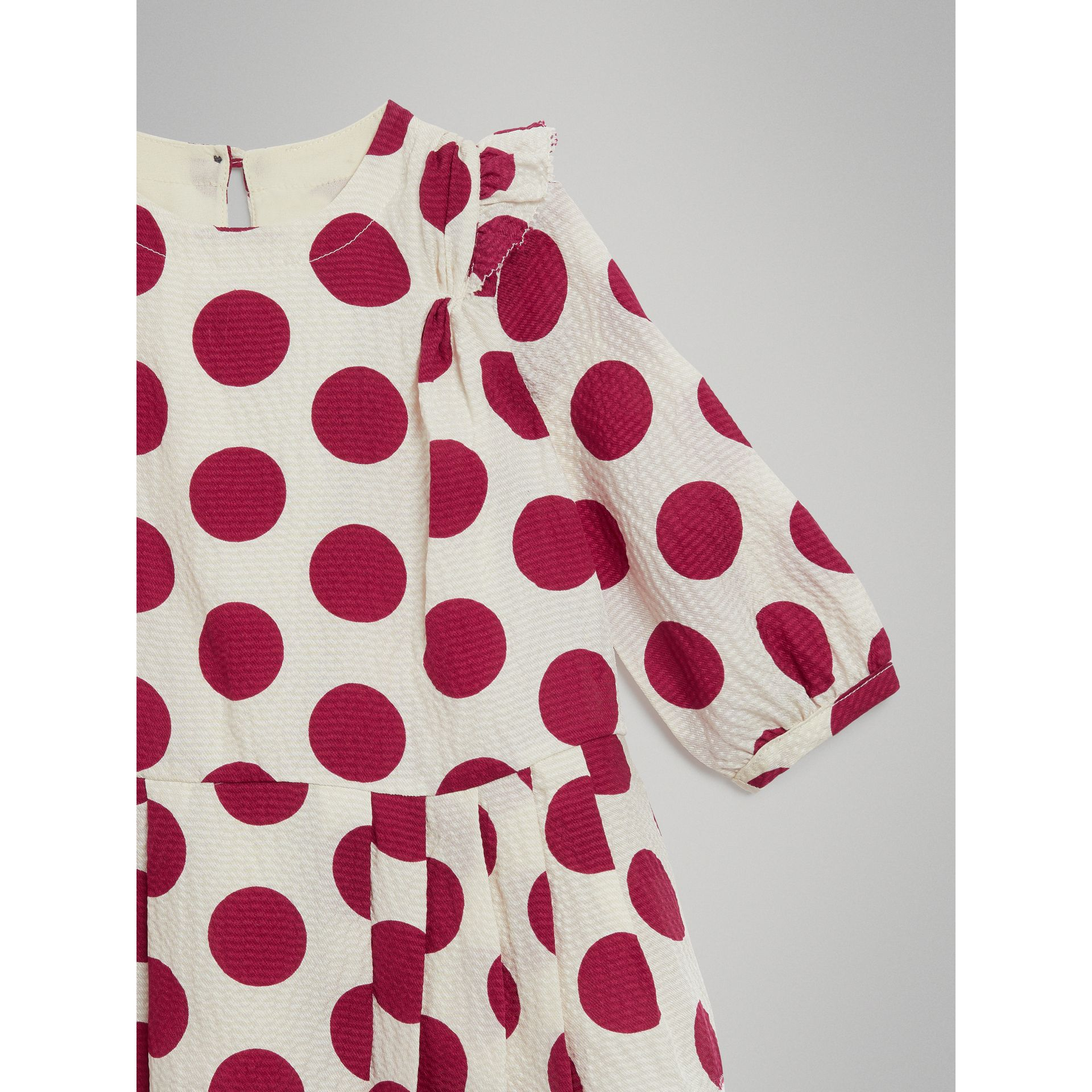 Polka Dot Print Silk Crepe Dress in Windsor Red - Children | Burberry Australia - gallery image 4