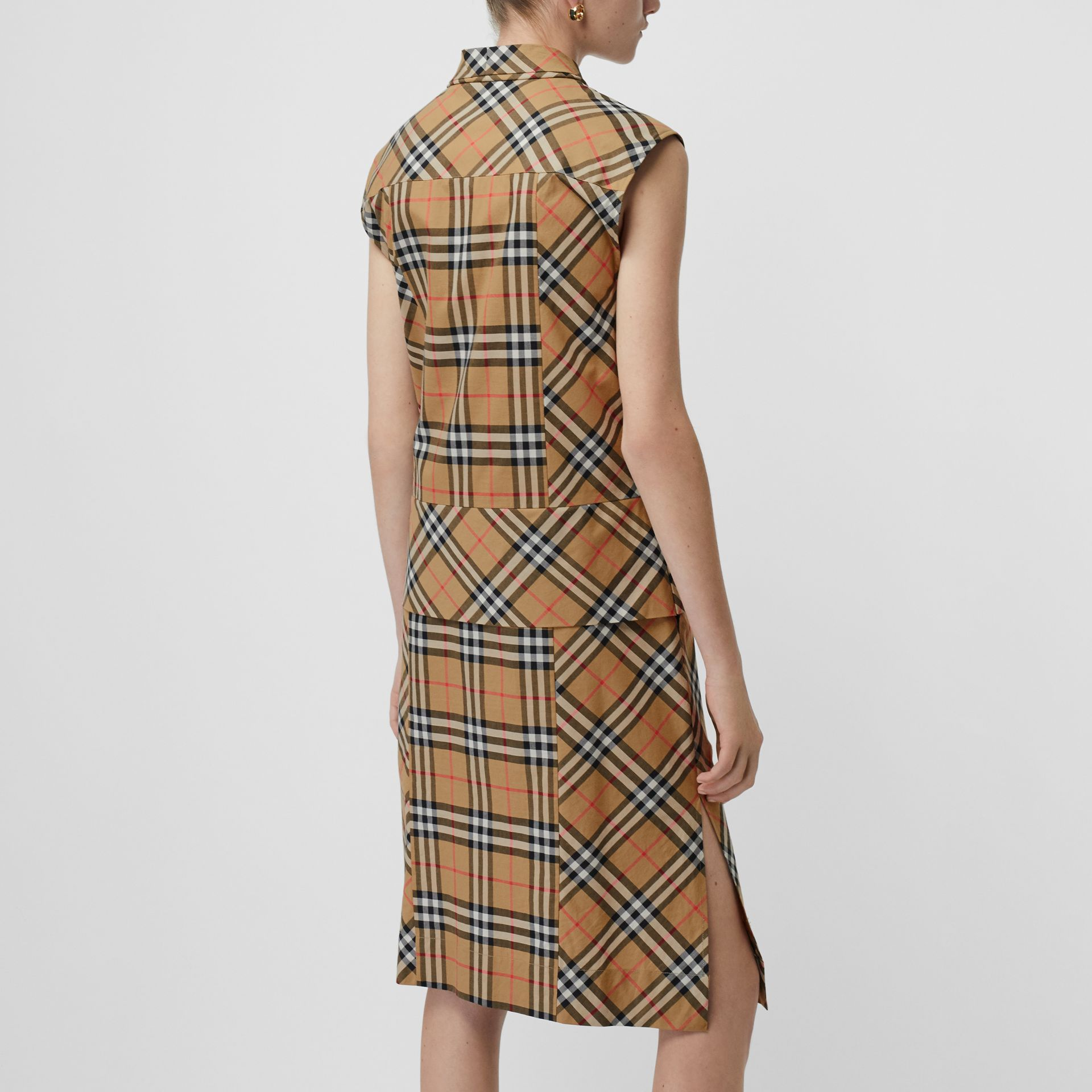Vintage Check Cotton Tie-neck Dress in Antique Yellow - Women | Burberry Canada - gallery image 1