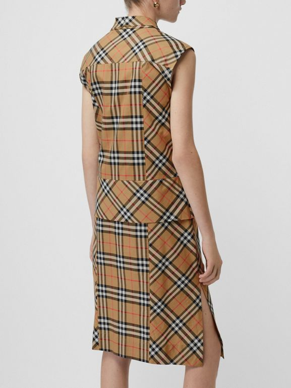 Vintage Check Cotton Tie-neck Dress in Antique Yellow - Women | Burberry Canada - cell image 1