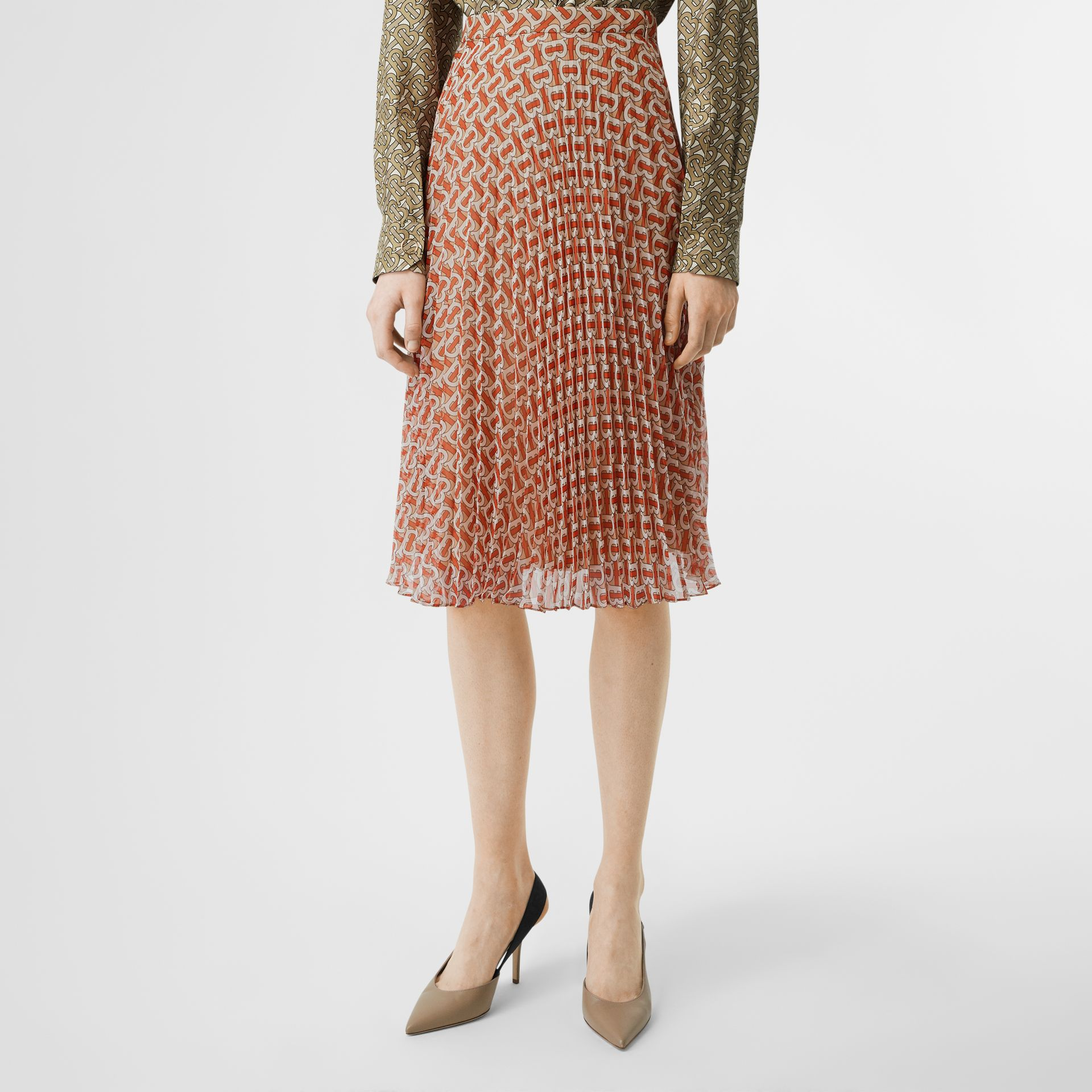 Monogram Print Chiffon Pleated Skirt in Vermillion Red - Women | Burberry United Kingdom - gallery image 3