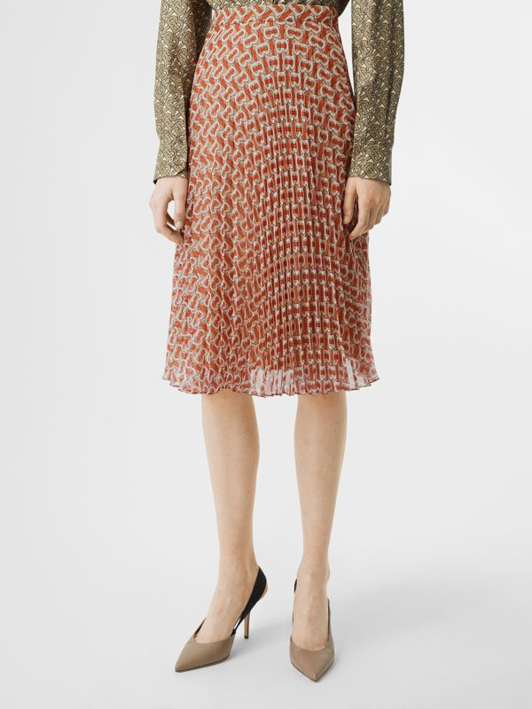 Monogram Print Chiffon Pleated Skirt in Vermillion Red - Women | Burberry United Kingdom - cell image 3