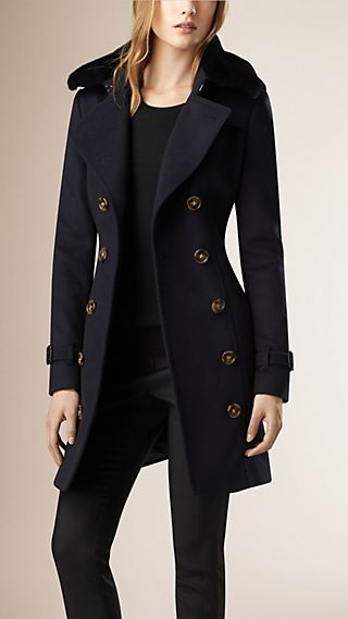 Fur Collar Wool Cashmere Trench Coat