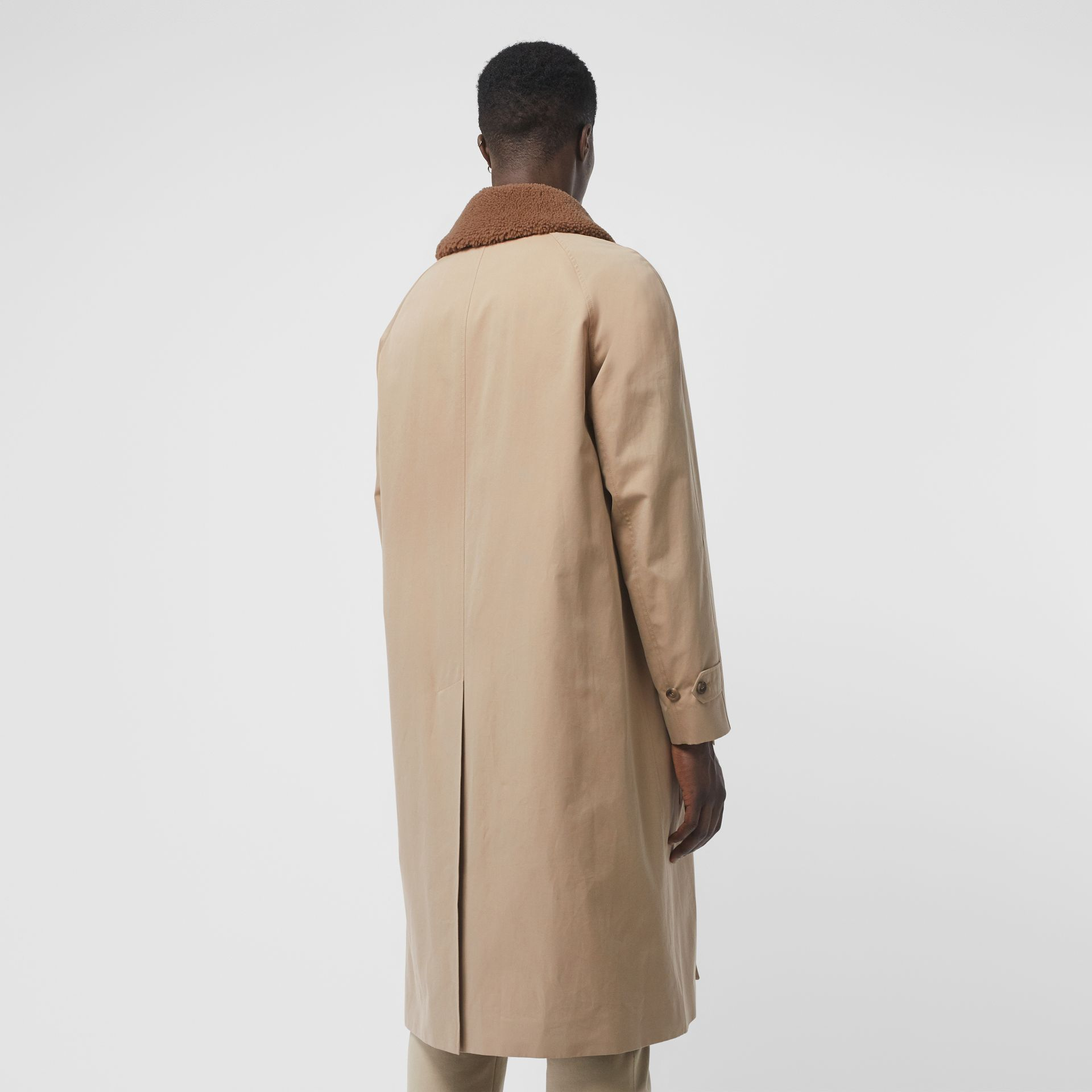 Shearling Collar Cotton Car Coat in Honey - Men | Burberry - gallery image 2