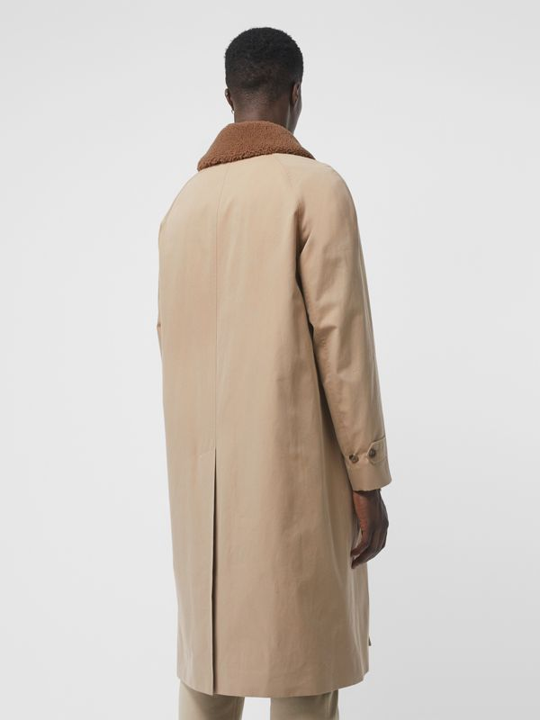 Shearling Collar Cotton Car Coat in Honey - Men | Burberry Australia - cell image 2