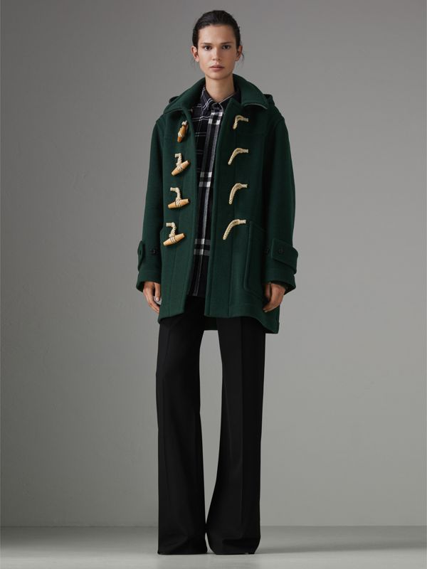 Gosha x Burberry Oversized Duffle Coat in Dark Forest Green | Burberry Australia - cell image 2