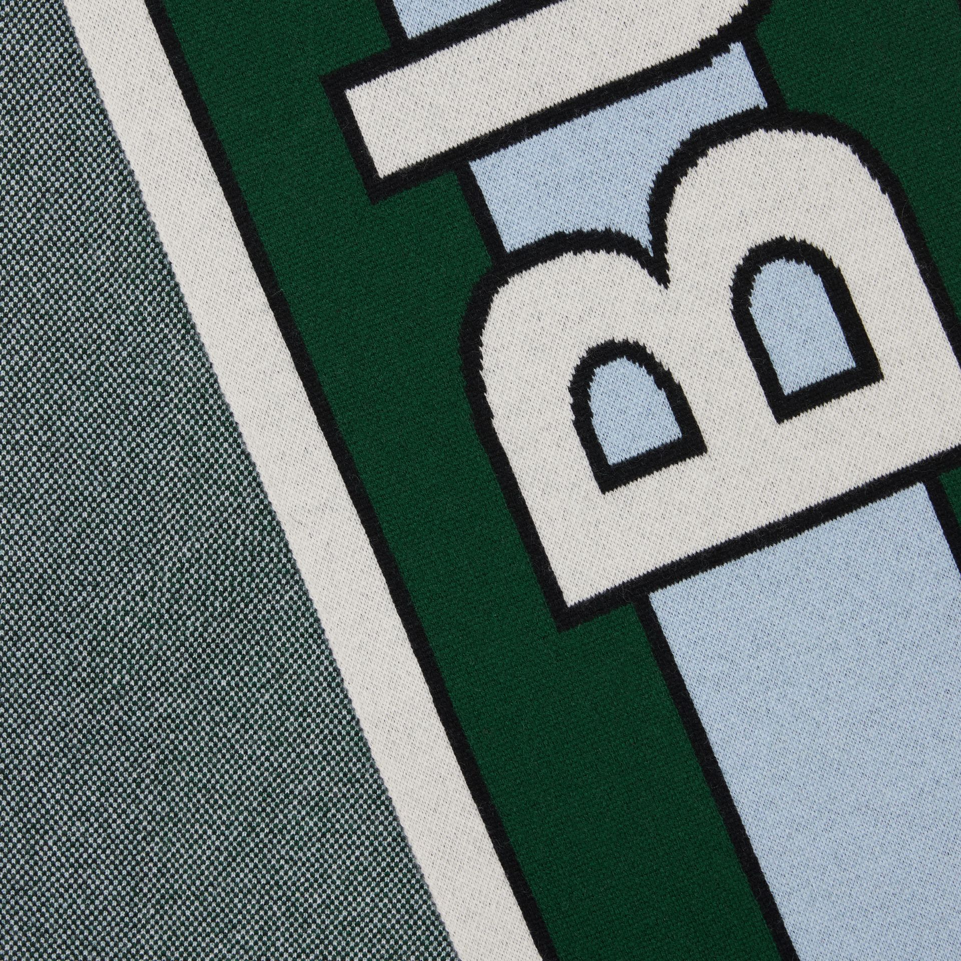Logo Cashmere Jacquard Scarf in Dark Pine Green | Burberry Australia - gallery image 1