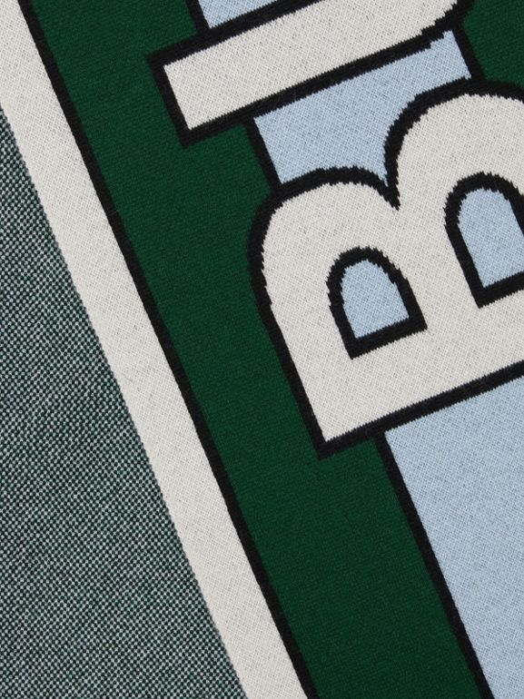 Logo Cashmere Jacquard Scarf in Dark Pine Green | Burberry - cell image 1