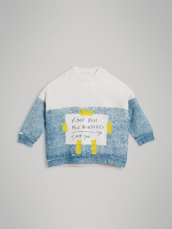 Sign Print Cotton Sweatshirt in Canvas Blue