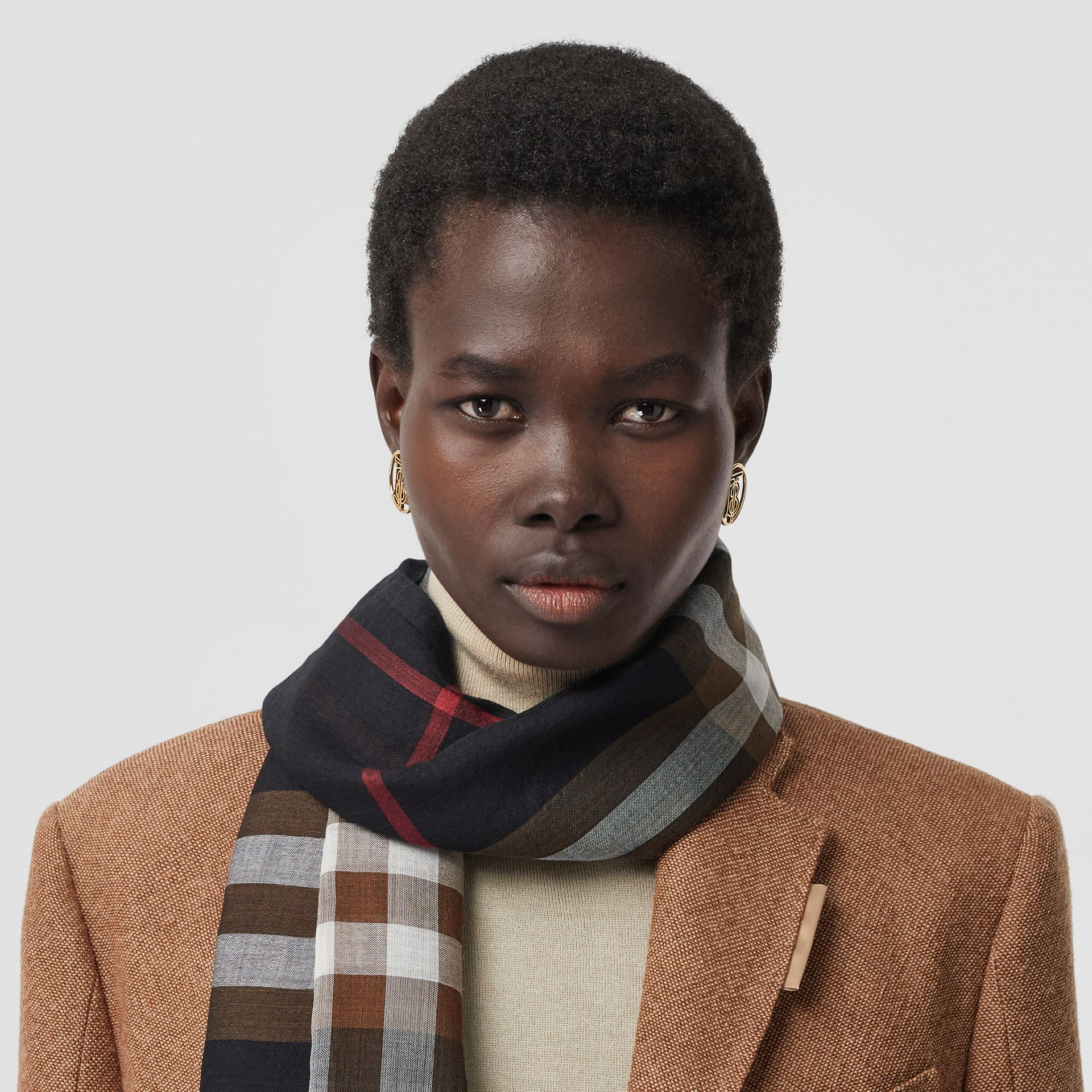 Lightweight Check Wool Silk Scarf in Black/brown | Burberry - gallery image 2